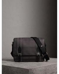 Lyst - Burberry Black and Grey Check Print Nylon Messenger Bag in ... a27c6583ddaf2