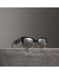 Burberry - Patchwork Check Oversize Square Frame Sunglasses - Lyst