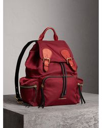 Burberry - The Medium Rucksack In Technical Nylon And Leather In Crimson Red - Women | - Lyst