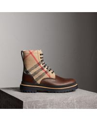 Burberry - Shearling-lined Leather And Check Boots - Lyst