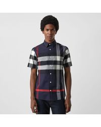 Burberry Kurzärmeliges Hemd aus Stretchbaumwolle im Karodesign - Blau