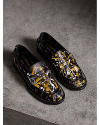 Burberry Splash Print Leather Penny Loafers - Black