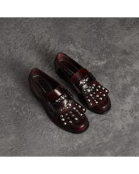 Burberry - Stud Detail Kiltie Fringe Leather Loafers - Lyst