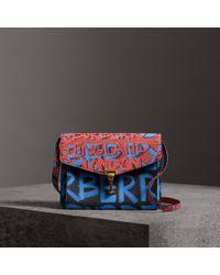 Burberry - Small Graffiti Print Leather Crossbody Bag - Lyst