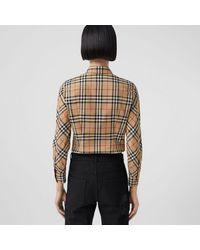 Burberry Bluse aus Stretchbaumwolltwill mit Vintage Check-Muster - Natur