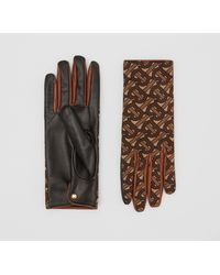 Burberry Cashmere-lined Monogram Print Lambskin Gloves - Brown