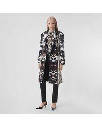 Burberry Camouflage Print Cotton Gabardine Trench Coat - Multicolor