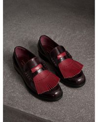Burberry - Contrast Kiltie Fringe Leather Loafers - Lyst