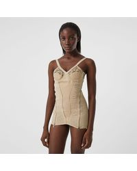 Burberry Lace Detail Leather And Mesh Corset Top - Multicolour