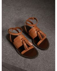 Burberry - Tasselled Leather Sandals - Lyst