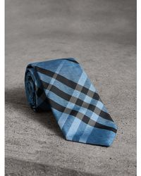 Burberry - Modern Cut Check Silk Tie - Lyst