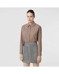 Burberry Chain-trim Gingham Cotton-flannel Shirt - Brown