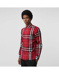 Burberry Hemd aus Stretchbaumwolle mit Karomuster - Rot