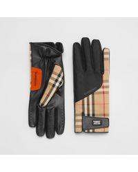 Burberry Logo Appliqué Vintage Check And Lambskin Gloves - Multicolour