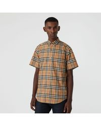 Burberry Kurzärmeliges Hemd mit Vintage Check-Muster - Gelb