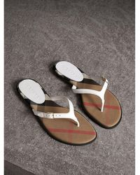 Burberry House Check And Leather Sandals Optic White