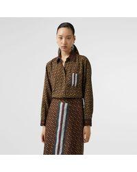 Burberry Monogram Stripe Print Silk Oversized Shirt - Brown