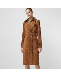 Burberry - Trench-coat À Double Boutonnage En Daim The Haddington - Lyst