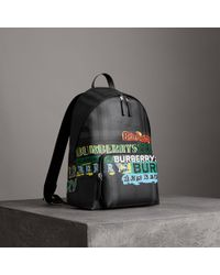 Burberry - Logo Print London Check Backpack - Lyst