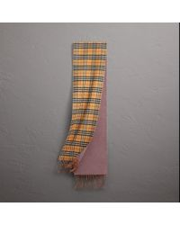 Burberry - Reversible Vintage Check Cashmere Scarf In Lilac Grey | - Lyst