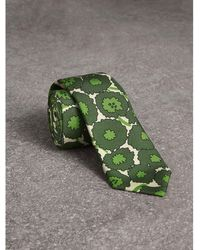 Burberry - Slim Cut Abstract Floral Print Silk Tie - Lyst