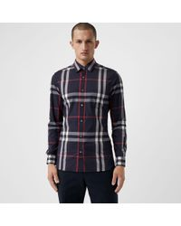 Burberry - Check Stretch Cotton Shirt Navy - Lyst