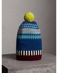 312b70c67 Fair Isle Cashmere Wool Pom-pom Beanie - Blue