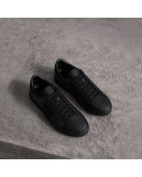 Burberry - Check Detail Leather Trainers - Lyst