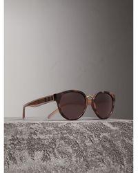 Burberry - Check Detail Cat-eye Frame Sunglasses In Mink | - Lyst
