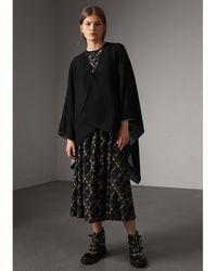 Burberry - Reversible Check Merino Wool Poncho Charcoal - Lyst