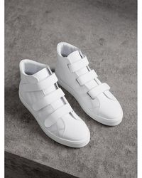 Burberry - Perforated Check Leather High-top Sneakers - Lyst