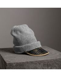 Burberry - 1983 Check Wool Cotton Peaked Beanie - Lyst