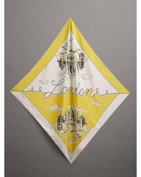 Burberry - London Print Silk Square Scarf - Lyst