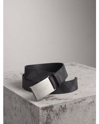 Burberry - Plaque Buckle London Check And Leather Belt - Lyst