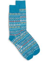 Burrows and Hare Fairisle Socks - Blue