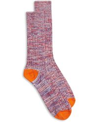 Burrows and Hare Woven Fleck Socks - Multicolour