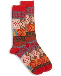 Anonymous Ism Fairisle Sock - Red