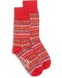 Burrows and Hare Fairisle Socks - Red