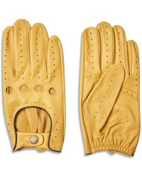 Dents Delta Classic Leather Driving Gloves - Cork With Black - Yellow