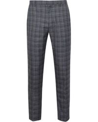 Burton Navy Skinny Fit Tartan Check Trousers - Blue
