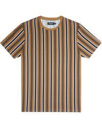 Burton Tan Vertical Stripe T-shirt - Blue