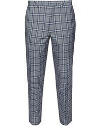 Burton Grey And Navy Tartan Skinny Fit Suit Trousers
