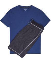 Burton Navy Jersey Birdseye Pyjama Set - Blue