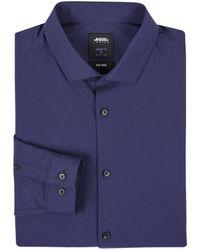 Burton Navy Skinny Fit Easy Iron Shirt - Blue