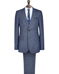Burton Blue Texture Slim Fit Suit Jacket