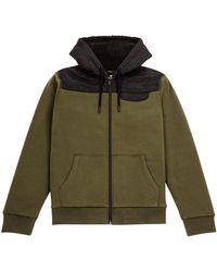 Burton Khaki Borg Lined Zip Through Hoodie - Multicolour