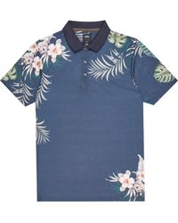 Burton Navy Floral Placement Polo Shirt - Blue