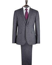 Burton Dark Grey Textured Skinny Fit Suit Jacket - Gray