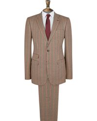 Burton Brown And Red House Check Skinny Fit Suit Jacket