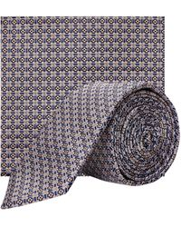 Burton Navy And Yellow Floral Geometric Tie And Matching Pocket Square Set - Blue